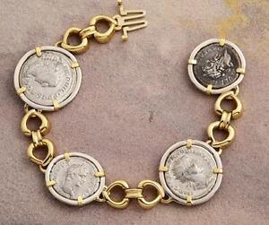 d41c06fda61a63 Ancient Roman Four Coin Bracelet Silver Denarius in 14kt Solid Gold ...