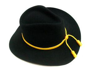 Mens-Civil-War-frontier-western-Old-West-fedora-BLACK-Cavalry-wool-felt-hat