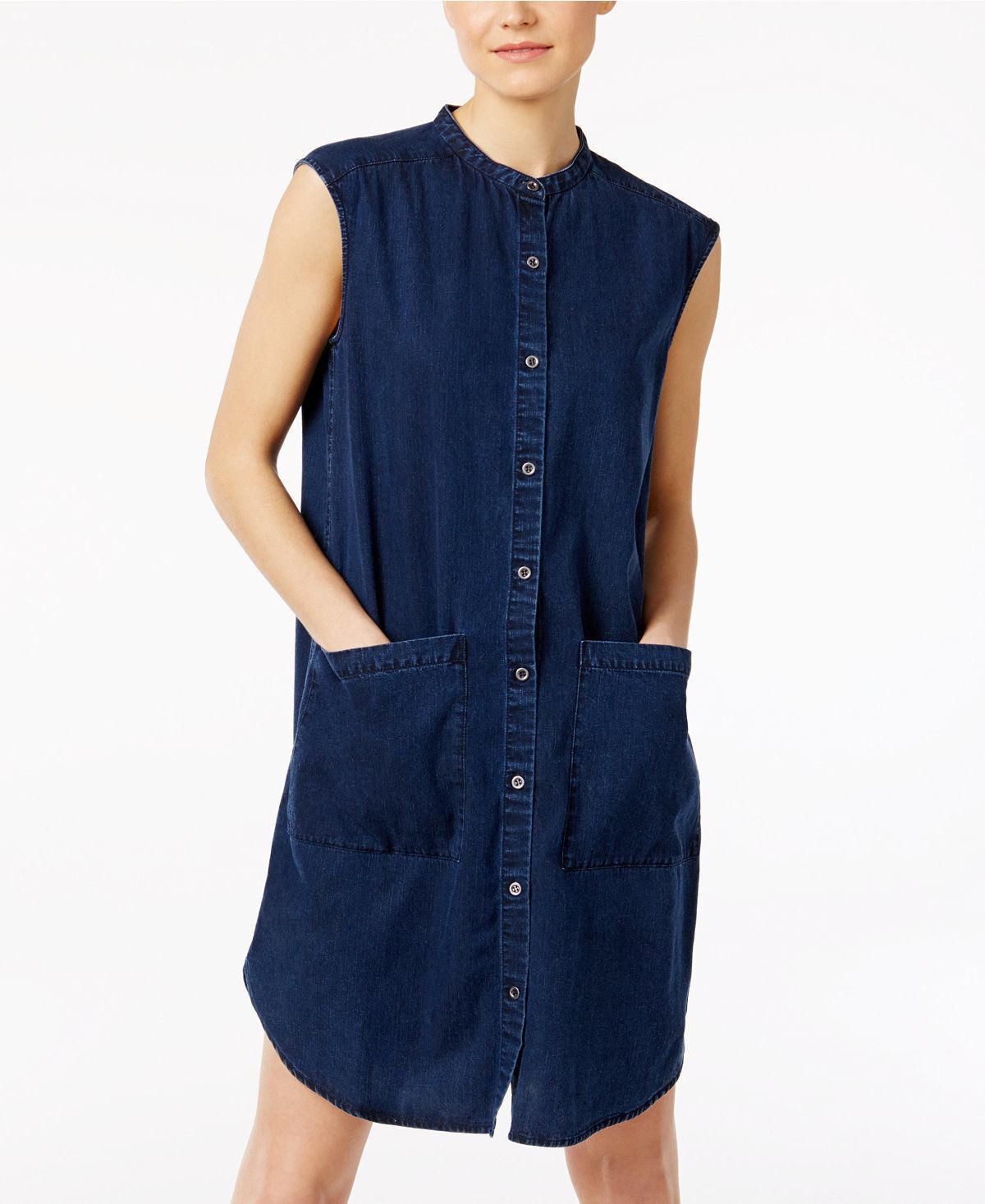 218 Eileen Fisher Midnight bluee Tencel Organic Cotton Denim Tunic Dress Size M 7f0e4f
