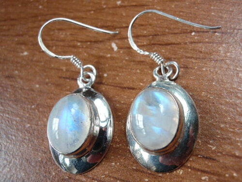 Blue Moonstone 925 Sterling Silver Earrings Ellipse on Silver Border Dangle