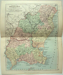Map Of Wexford County Ireland.Original 1882 Map Of The County Of Wexford Ireland By George Philip