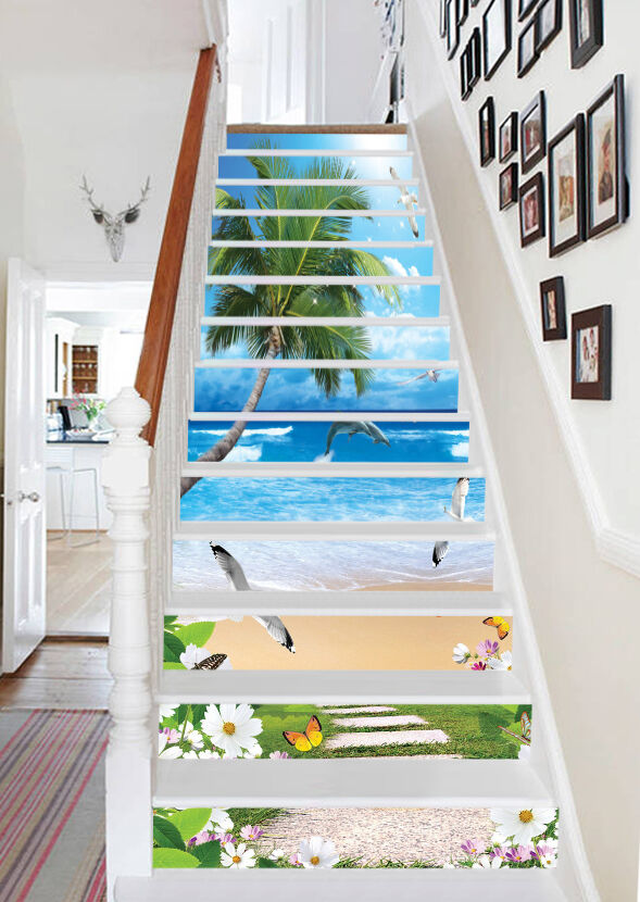 3D Vibrant Beach 97 Stair Risers Decoration Photo Mural Vinyl Decal Wallpaper AU