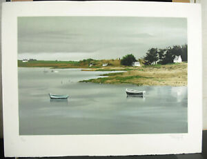 Print-c1970-Signed-F-Mangold-Brittany-Gulf-Of-Morbihan-Ex-Num-21-175-25-5-8in
