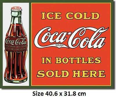 Coke Sold Here Tin Metal Sign 1047 Postage Licensed by Coca Cola Made in USA
