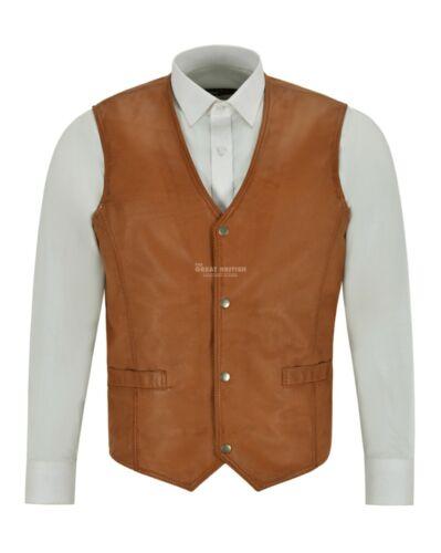 Mens Leather Waistcoat Gilet Formal Classic Tan Real Leather Biker Vest 1118