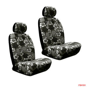 Hawaiian Car Seat Covers >> Details About New Black Hawaiian Flowers Hibiscus Print Car Front Low Back Bucket Seat Covers