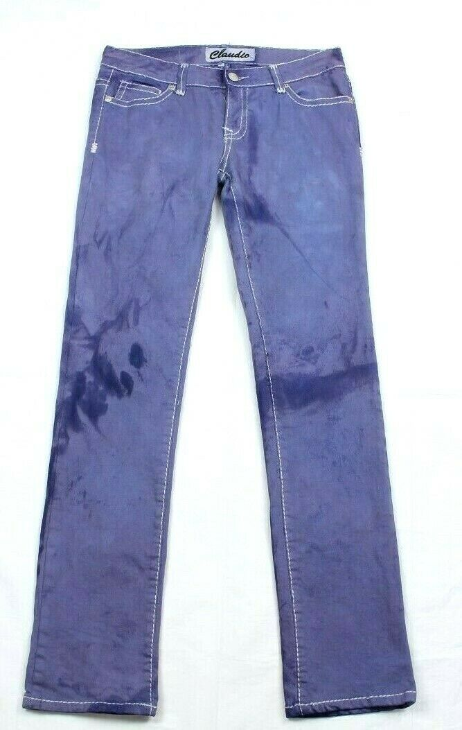 Claudio Milano Women's Jeans bluee Tie Dye Embroidered Size 11 Retail