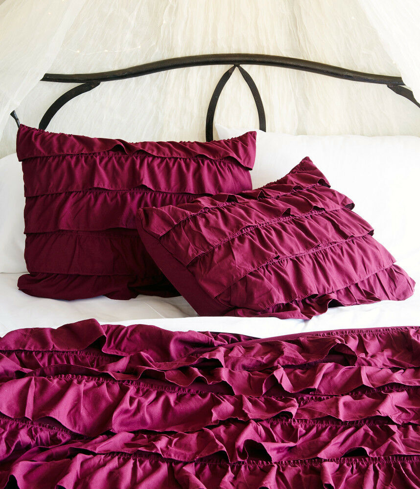 Aeropostale Spirited Away Ruffle Duvet Cover & Sham 2-PC Set Purple Twin Twin XL