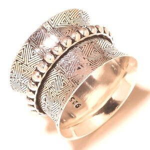 Livraison Rapide Argent Sterling 925 Méditation Anneau Statement Ring Spinner Ring Toutes Tailles At802-afficher Le Titre D'origine Style à La Mode;