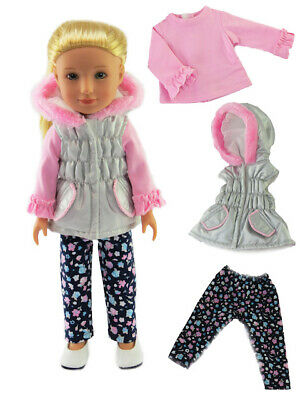 "Silver Puffer Jacket Fits Wellie Wisher 14.5/"" American Girl Clothes"
