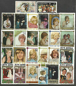 PRINCESS-DIANA-Collection-Packet-of-25-DIFFERENT-STAMPS-USED