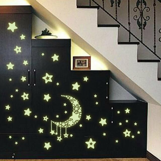 DIY Night Light Glow In The Dark Moon Stars Wall Stickers Home Decor Decals GN