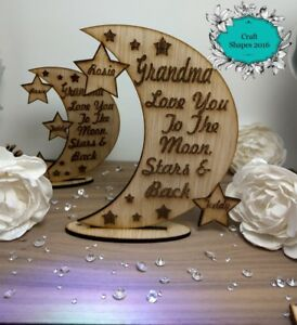 Personalised-Moon-amp-Stars-Decoration-Moon-Plaque-Family-Mother-039-s-Day-Gifts