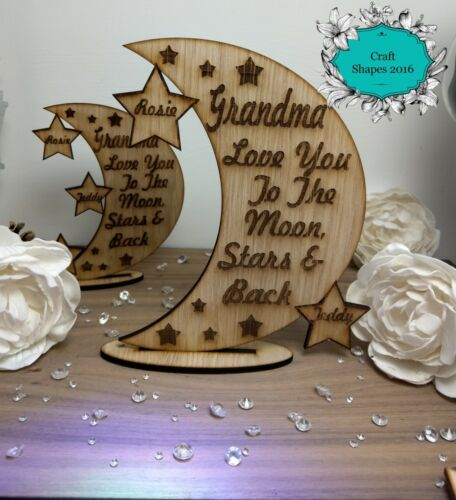 Moon Plaque Family Gifts Personalised Moon /& Stars Decoration Mother/'s Day