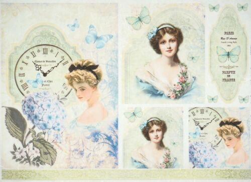 Rice Paper for Decoupage Decopatch Scrapbook Craft Sheet Vintage Girls Blue