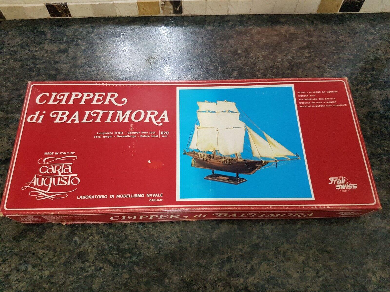 Carta Augusto 1 50 Clipper Di Baltimora Wooden Ship Great Condition Very Rare