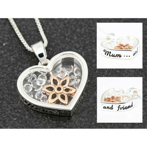 Equilibrium Mum /& Friend Floating Crystals Heart Flower Necklace New and Boxed