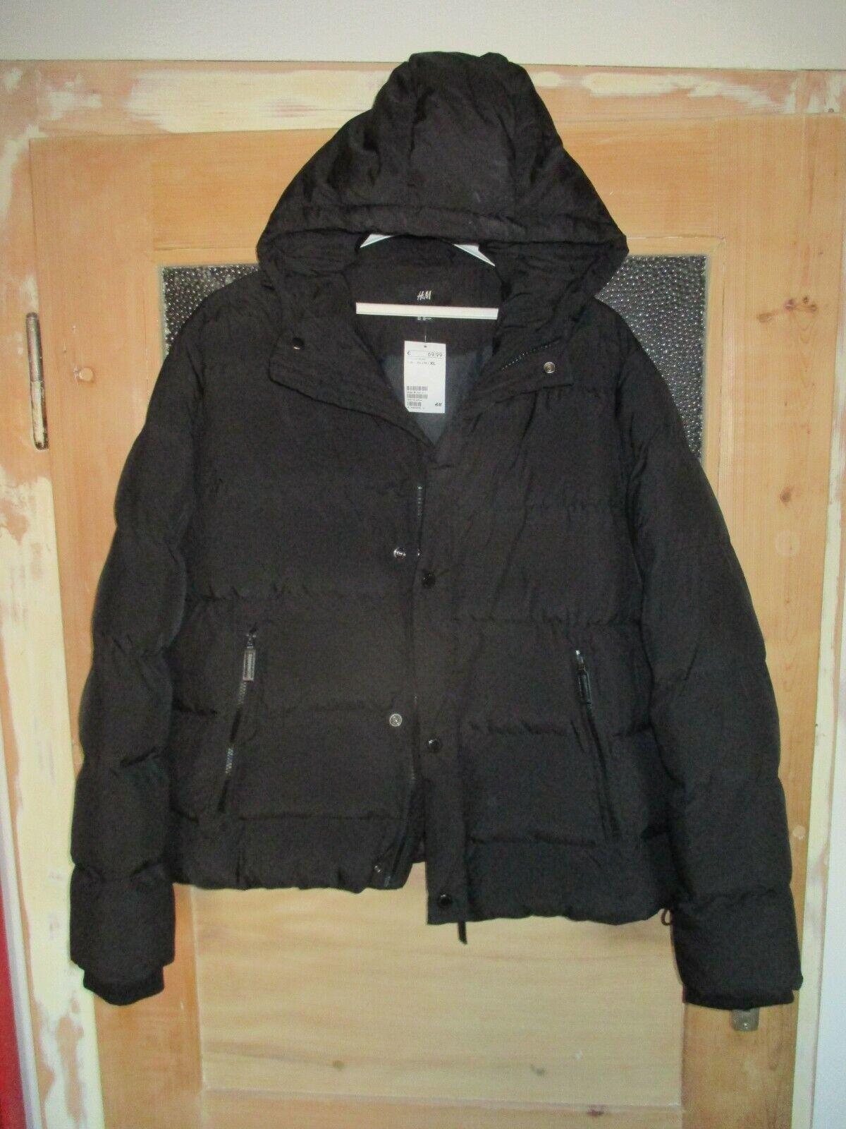 ! novedad! h&m señores chaqueta invierno negro talla XL chaqueta con capucha! nuevo!