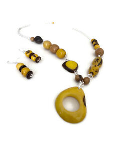 Handmade Yellow Tagua Necklace Tagua Nut Necklace TAG151 Vegetable Ivory