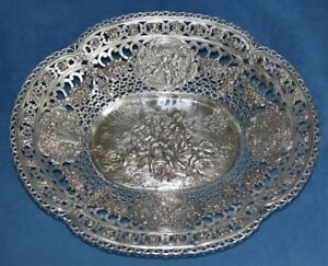 Huge-Antique-German-800-Silver-Cherub-Angel-Reticulated-Centerpiece-530-GRM-Bowl