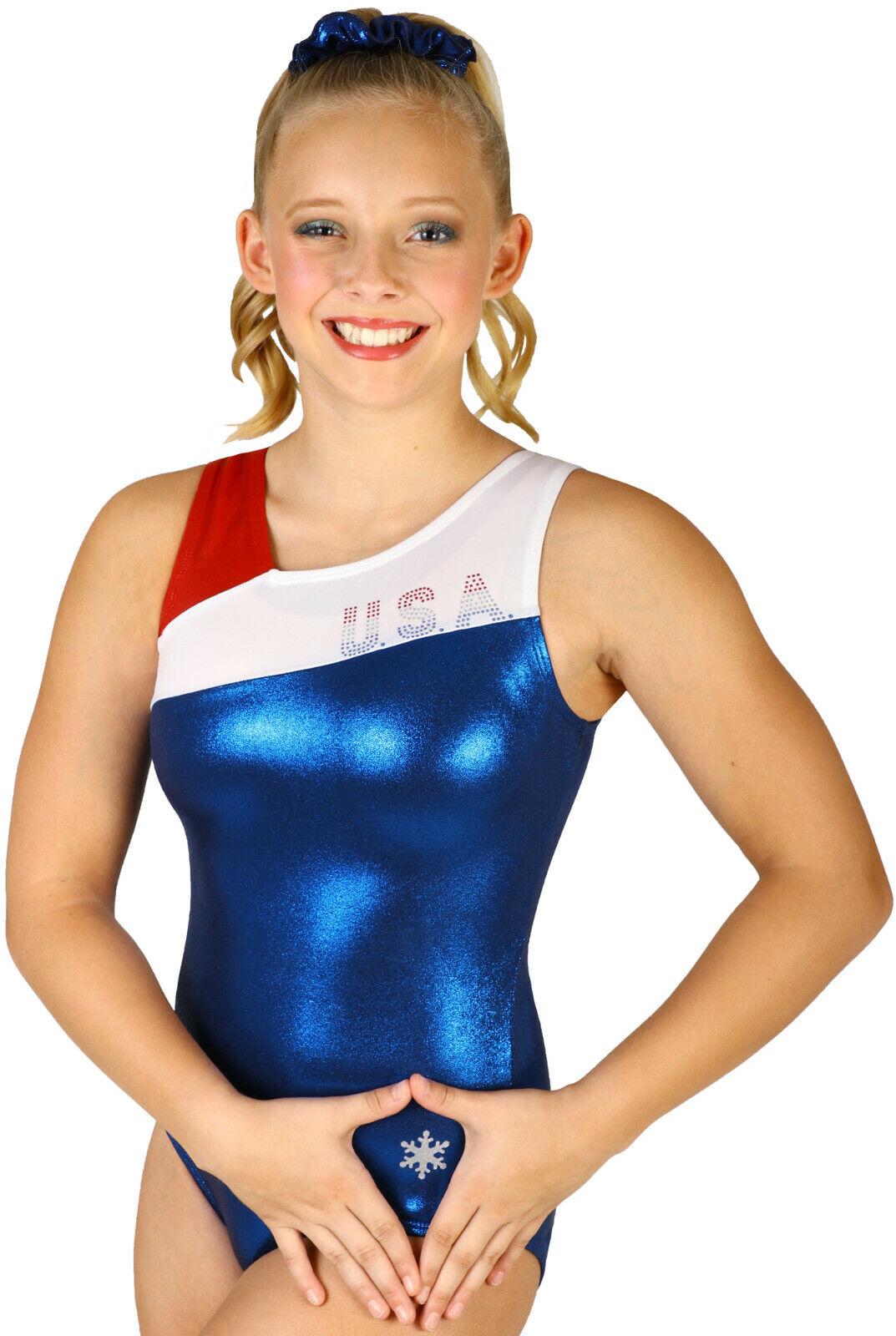 NEW  Bravo Bravo Bravo USA Gymnastics Leotard by Snowflake Designs 1efa77
