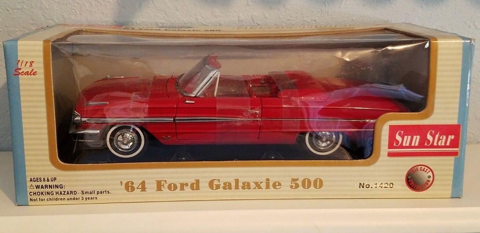 1 18 SUN STAR 1964 FORD GALAXIE 500 CONgreenIBLE RED pd