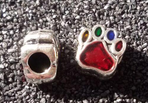 2//5 patas multicolor perro beads grande agujero perlas Paracord pulsera grande agujero perlas t62