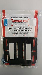 Simple Fix Kennzeichenhalter, Nummernschildhalter vorne und hinten, rahmenlos