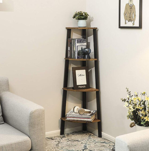 size 40 9e98c 11350 Small Corner Bookcase Vintage Industrial Furniture Tall Rustic Shelving Unit
