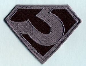 3-034-x-4-034-ZOD-Superman-Man-of-Steel-style-Black-amp-Gray-Chest-Logo-Iron-on-Patch