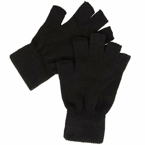 2 Pair Adults Magic Stretch Fingerless Winter Outdoor Thermal Gloves