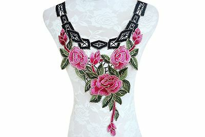 2pcs Embroidered Polyester Lace Applique Sewing Patch for Collar Bridal Dress #9