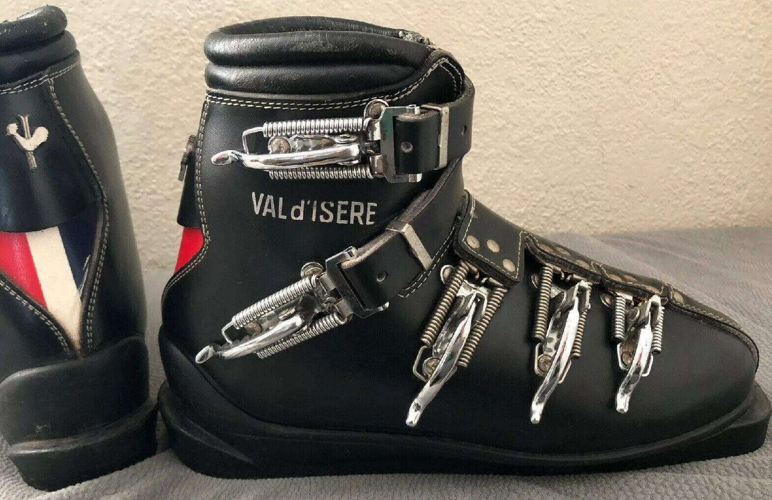 Vintage VAL d'ISERE Leather SKI Stiefel France 7 N HESCHUNG Decor 5 Buckle 60s