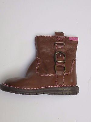 Botas Zapatos De Chicas Ex M & S Cuero Talla 4 5 6 7 8 9-RRP £ 20 - £ 22 Rojo Marrón Tostado