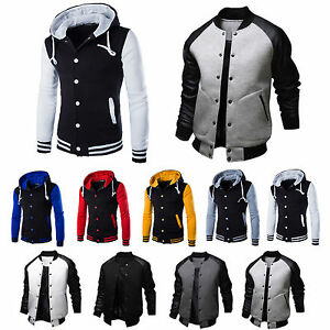 Men-039-s-Varsity-University-College-Baseball-Sports-Jacket-Coat-Hooded-Sweatshirt