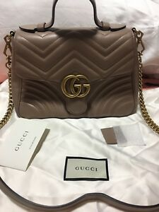 bcb857bd33e6 Image is loading Gucci-GG-Handbag-Marmont-Small-Dusty-Pink-Shoulder-