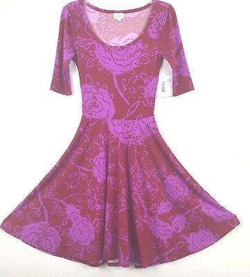 Lularoe Womens Nicole Dress Nwt Size Xxs Red Print Short