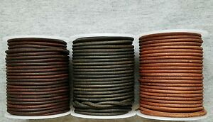 Round-Leather-Cord-Antique-Distressed-Various-Colors-Lengths-Widths-1mm-2mm-3mm