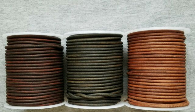Genuine Round Leather Cord Brown 2mm 25 yards