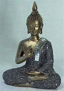 Golden-Meditating-Thai-Buddha-w-Silver-Glitter-amp-Mirror-Mosaic-Robe-ONLY-ONE