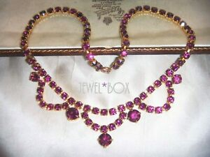 VINTAGE-1950s-JEWELLERY-Amethyst-Crystal-Rhinestone-Swag-NECKLACE-Special-Gift