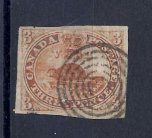 Canada 1851 Beaver Postage Stamp #1 Laid Paper Imperforate Used CV $1000