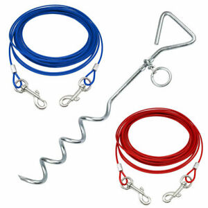 Pet-Dog-Puppy-Outdoor-Tie-Out-Lead-Leash-Extension-Wire-Cable-Metal-Stake-Anchor