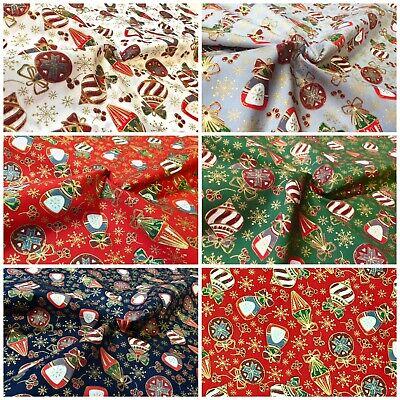 Stoff Meterware Baumwolle rot gold Ornament Weihnachten Weihnachtsstoff Deko Neu
