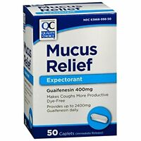 2 Pack Quality Choice Mucus Relief Expectorant Guaifenesin 400mg 50 Caplets Each on sale