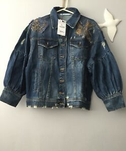 f6ffee6c Image is loading Zara-Embroidered-Denim-Jacket-Gems-Patches-Puffy-Sleeves-