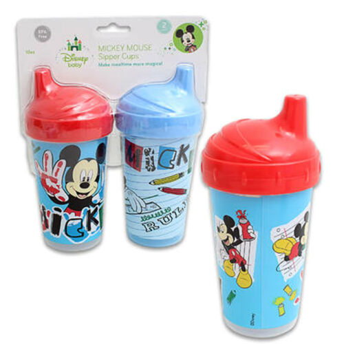 Blue Red Toddler Kids 2 pk Spill Proof DISNEY MICKEY MOUSE 10 oz Sippy Cups