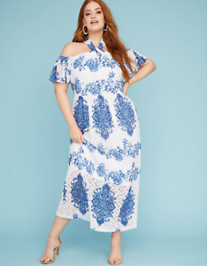 Lane Bryant Lace Halter Neck Maxi Dress damen Plus 26 28 Blau Weiß 4x NWT
