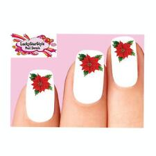 Waterslide Holiday Nail Decals Art Set of 20 - Christmas Poinsettia