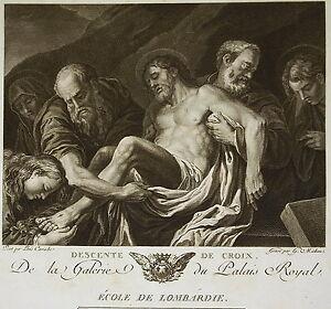 """Ludovico Carracci """" Descente De Croix"""" Gravure T Michau Ed Couché 1786 Biblique Marchandises De Haute Qualité"""
